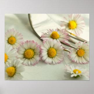 Romantische GänseblümchenfarbeBlumen danken Ihnen Poster