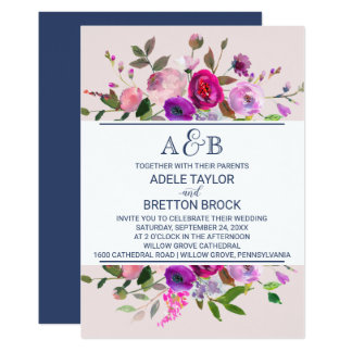 Romantische Garten-Monogramm-Hochzeit 12,7 X 17,8 Cm Einladungskarte