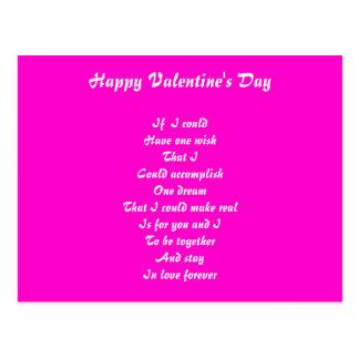 Romantische Gedicht Valentinstagpostkarten Postkarte