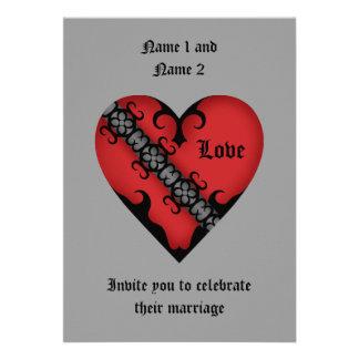 Romantische gotische mittelalterliche rote individuelle einladungskarte