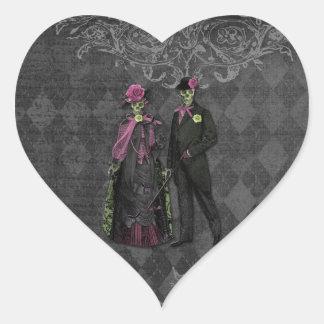 Romantische Halloween-Skelett-Paare Herz-Aufkleber