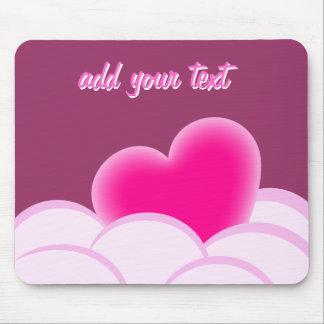 Romantische Illustration mit Herzen und Blasen Mousepads