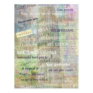 Romantische italienische Phrasen und Wörter Postkarte