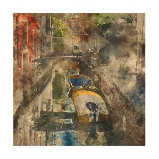 Romantische Kanäle von Aquarell Venedigs Italien Holzdruck
