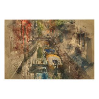 Romantische Kanäle von Aquarell Venedigs Italien Holzwanddeko