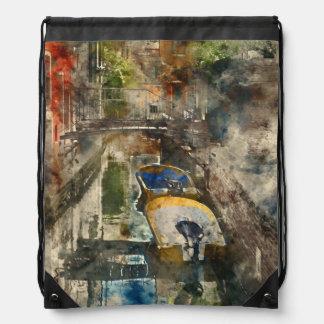 Romantische Kanäle von Aquarell Venedigs Italien Turnbeutel