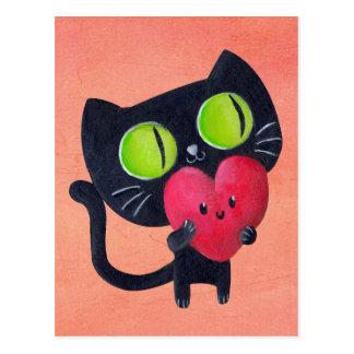 Romantische Katze, die rotes niedliches Herz Postkarte