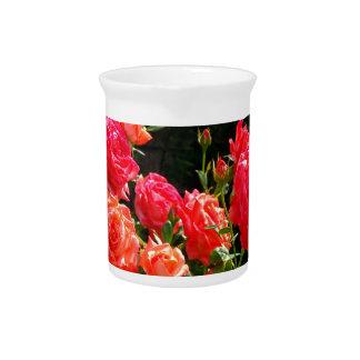 Romantische korallenrote Rosen Getränke Pitcher