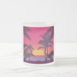 Romantische Landschaft mit Palmen Mattglastasse