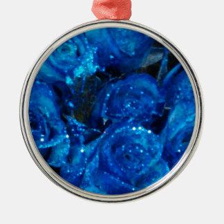 Romantische Liebe-blaue Glitter-Glamour-Rosen Silbernes Ornament