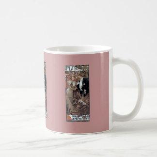 Romantische Liebe des Mucha Flirtfrauen-Mannes Kaffeetasse