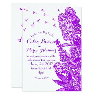 Romantische lila Blumen-Hochzeits-Einladung 8,9 X 12,7 Cm Einladungskarte