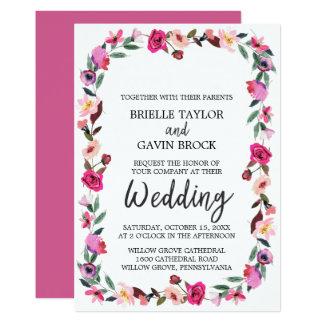 Romantische Märchen-Blüten-Kranz-Hochzeit Karte