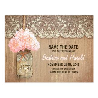 romantische Maurerglas-Rosa-Blumen Save the Date Postkarte