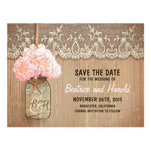 romantische Maurerglas-Rosa-Blumen Save the Date Postkarten