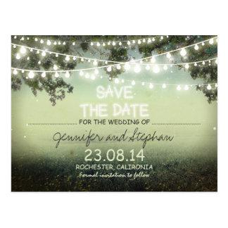 romantische Nacht beleuchtet modernes Save the Postkarte
