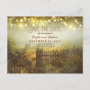 romantische Nacht beleuchtet rustikales Save the Ankündigungspostkarte