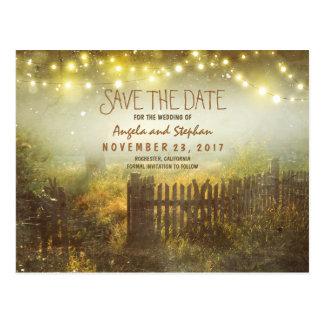 romantische Nacht beleuchtet rustikales Save the Postkarte