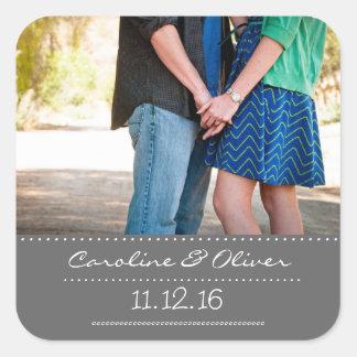 Romantische Paar-Foto-Gastgeschenk Hochzeit Quadratischer Aufkleber