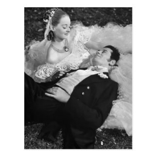 Romantische Paar-Franzose-Postkarte Postkarte