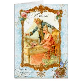 Romantische Paar-französische Vintage Art Grußkarten