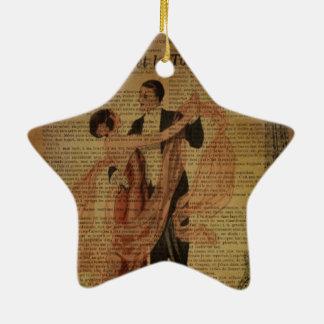 romantische Paris-Hochzeits-Walzerballsaaltänzer Keramik Stern-Ornament