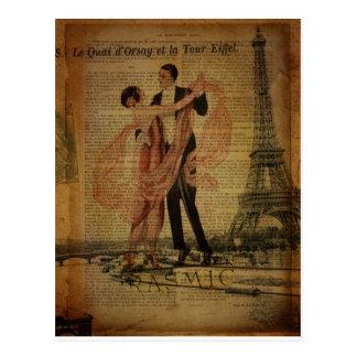 romantische Paris-Hochzeits-Walzerballsaaltänzer Postkarte
