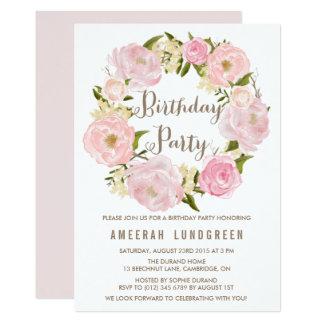 Romantische Pfingstrosenwreath-Geburtstags-Party 12,7 X 17,8 Cm Einladungskarte