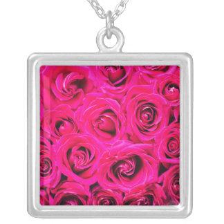 Romantische rosa lila Rosen Versilberte Kette