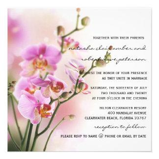 Romantische rosa Orchideen die Einladung Wedding