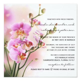 Romantische rosa Orchideen, die Einladung Wedding