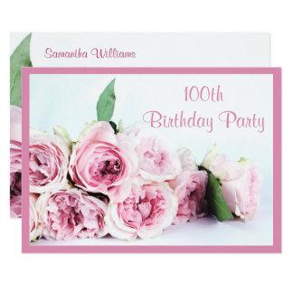 Romantische rosa Rosen-100. Geburtstag Karte