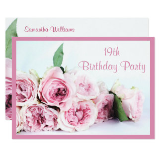 Romantische rosa Rosen-19. Geburtstag Karte