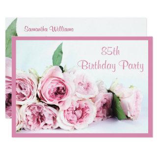 Romantische Rosa Rosen 85. Geburtstag 12,7 X 17,8 Cm Einladungskarte
