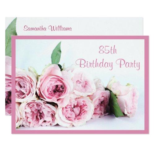 ... Romantische Rosa Rosen 85. Geburtstag Karte, Eleganter ...