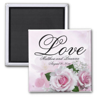 Romantische rosa Rosen-personalisierte Quadratischer Magnet