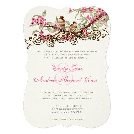 Romantische rosa Vintage Lovebirds Personalisierte Einladung