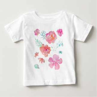 Romantische rosa Watercolor-Blumen Baby T-shirt