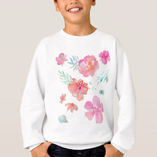 Romantische rosa Watercolor-Blumen Sweatshirt