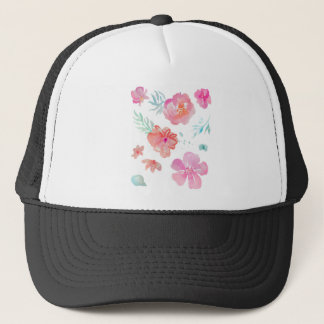 Romantische rosa Watercolor-Blumen Truckerkappe