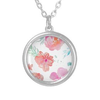 Romantische rosa Watercolor-Blumen Versilberte Kette