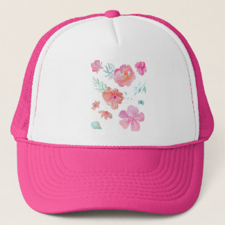 Romantische rosa Watercolor-mit BlumenBlumen Truckerkappe