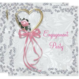 Romantische Rose, Diamanten u. Band-Verlobung Quadratische 13,3 Cm Einladungskarte