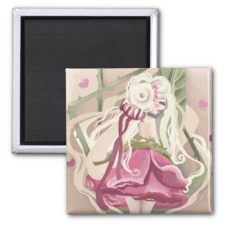 Romantische Rose Quadratischer Magnet