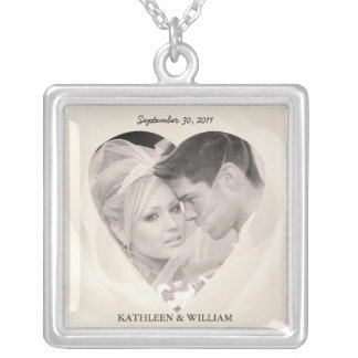 Romantische Rosen-Hochzeits-Foto-Anhänger-Halskett Halskette Mit Quadratischem Anhänger