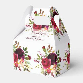 Romantische Rot-Blumenstrauß-Hochzeit Burgunders Geschenkschachtel