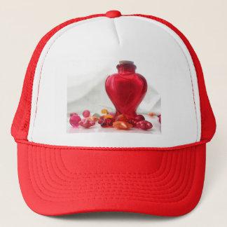 Romantische rote Liebe-Herz-Flaschen-Fotografie Truckerkappe