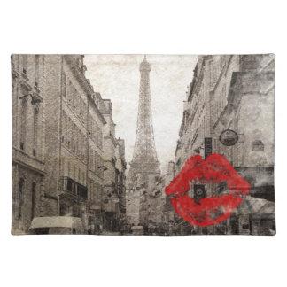 romantische rote Lippen küssen Turm i-Liebeparis Stofftischset