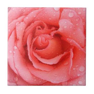 Romantische rote rosa Rosen-Wasser-Tropfen Fliese
