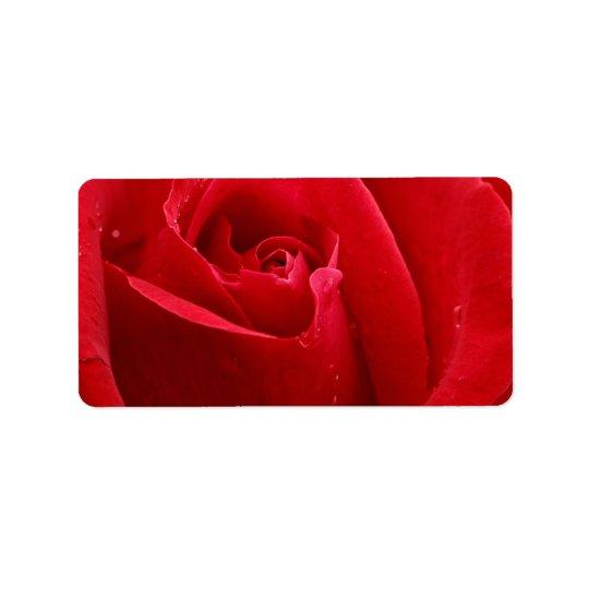 Romantische Rote Rose Adressetiketten
